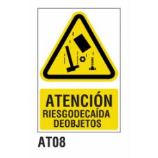 Cartel riesgo caida objetos