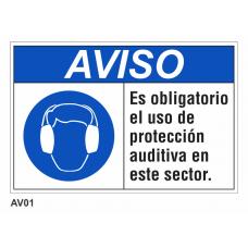 Cartel obligatorio uso de protección auditiva