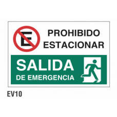 Cartel prohibido estacionar salida
