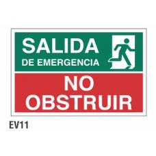 Cartel no obstruir salida