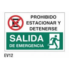 Cartel prohibido estacionar y detenerse