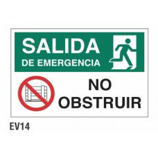 Cartel salida no obstruir