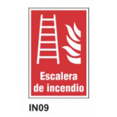 Cartel escalera de incendio