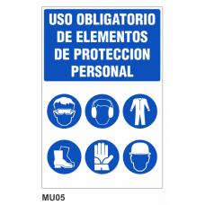 Cartel uso obligatorio de elementos