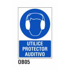 Cartel utilice protector auditivo