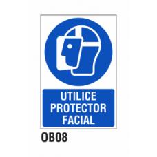 Cartel utilice protector facial