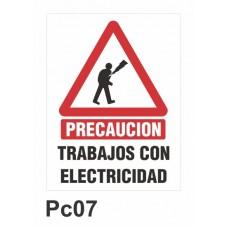 Cartel trabajos con electricidad
