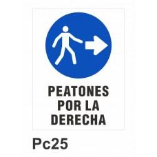 Cartel peatones por la derecha