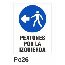Cartel peatones por la izquierda