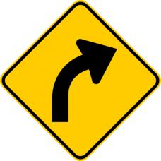 Cartel curva pronunciada